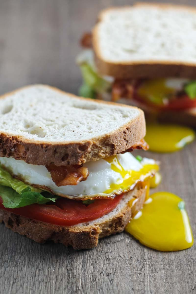 Close up of two low FODMAP BLT sandwiches