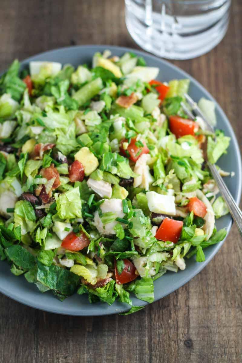 Vertical shot of low FODMAP cobb salad
