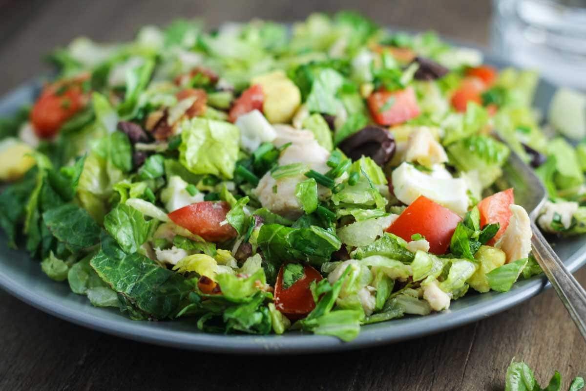 Close up of low FODMAP cobb salad