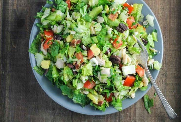 Horizontal shot of low FODMAP cobb salad