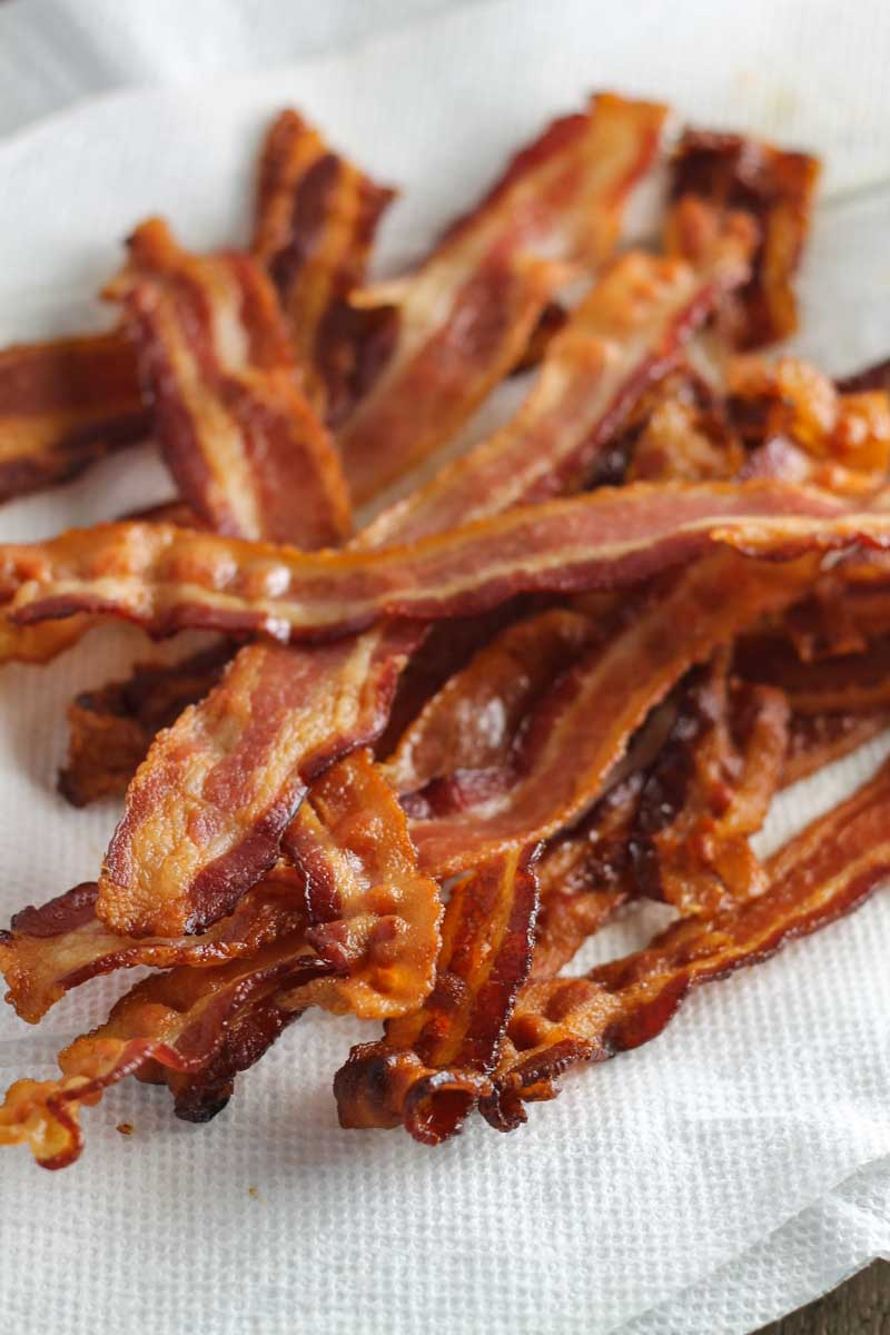 Pile of perfectly baked bacon