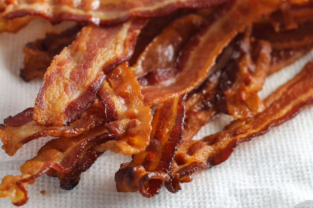 Close up of perfectly baked bacon