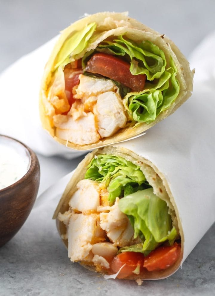 Low FODMAP Buffalo Chicken Wraps