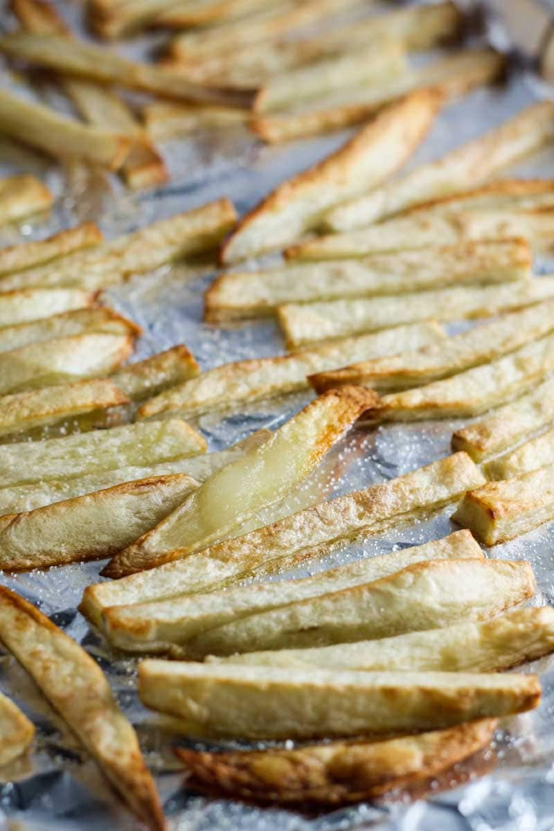 Sheet of low FODMAP garlic fries