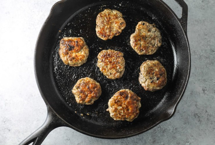 A skillet filled with Low FODMAP Breakfast Sausage