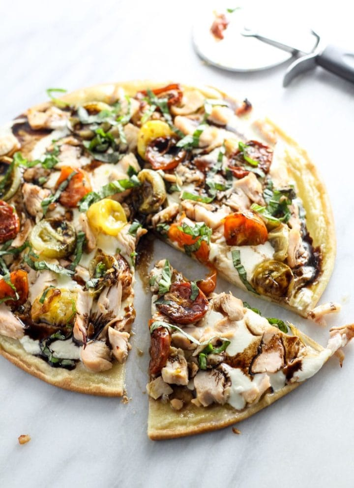 Low FODMAP Bruschetta Pizza with Chicken