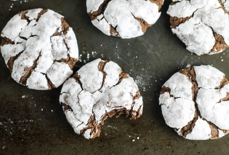 Horizontal close up of low FODMAP cocoa crinkle cookies