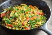 Close up of low FODMAP fajitas migas