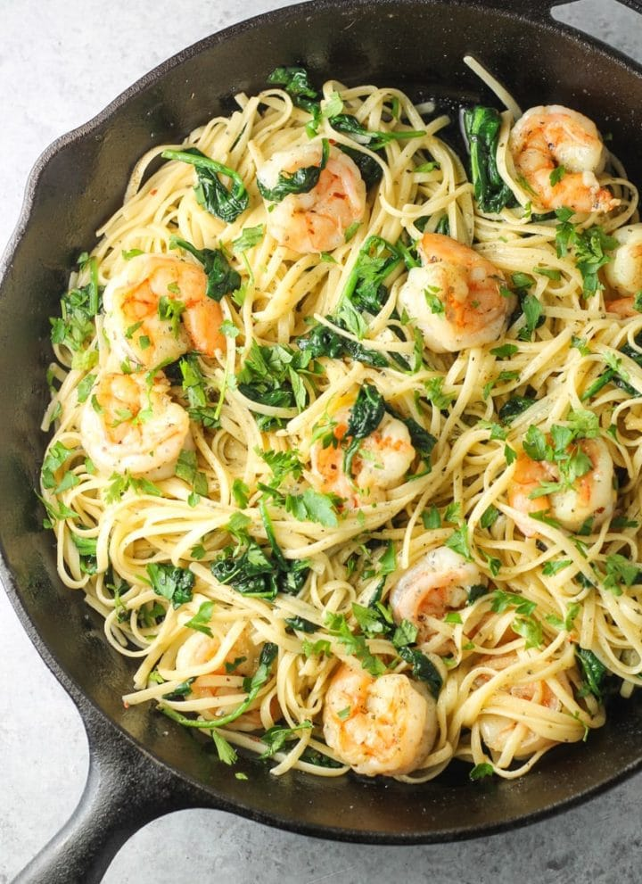 Low FODMAP Pasta with Spicy Lemon Shrimp
