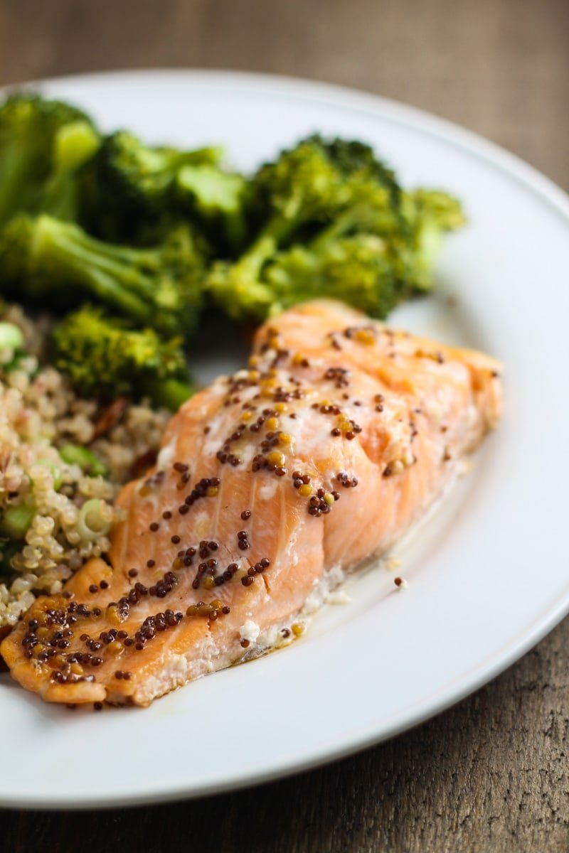 Close up shot of low FODMAP maple mustard salmon