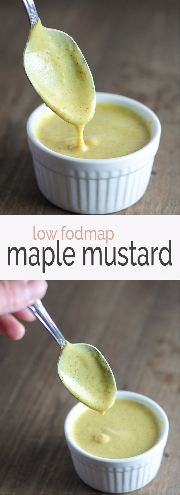 The BEST dip ever! This creamy maple mustard pairs perfectly with our low fodmap chicken tenders!