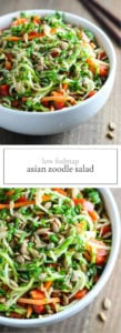 Two photos of low FODMAP Asian zoodle salad
