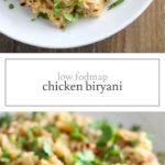 Two photos of low FODMAP chicken biryani