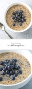 Two photos of low FODMAP breakfast quinoa