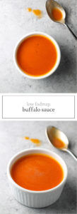 Two photos of low FODMAP buffalo sauce