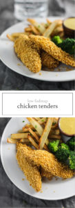 Two photos of low FODMAP chicken tenders