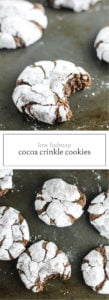 Two photos of low FODMAP cocoa crinkle cookies