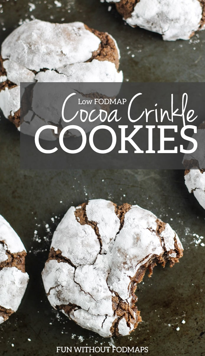 Low FODMAP Cocoa Crinkle Cookies