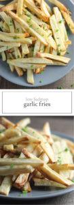 Two photos of low FODMAP garlic fries