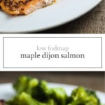 Two photos of low FODMAP maple mustard salmon