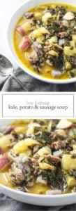 Two photos of low FODMAP kale, potato and sausage soup