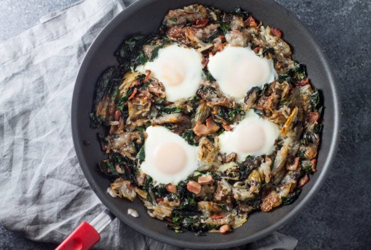 Low FODMAP bacon, chard and potato hash