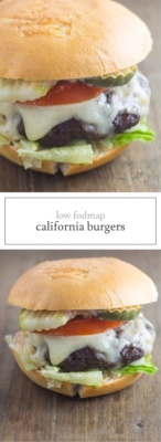 Two images of Low FODMAP California Burgers