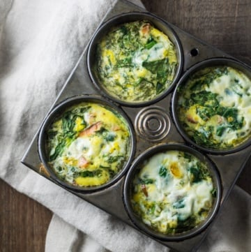Overhead shot of low FODMAP Smoked Salmon and Spinach Frittata Cups