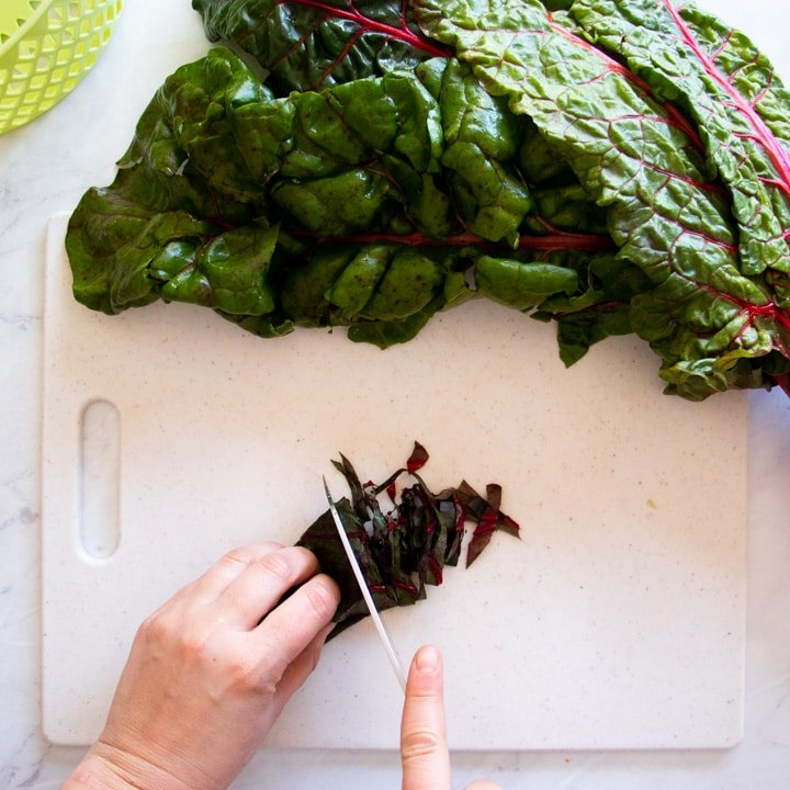 Shredding Swiss chard with a knife