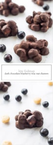 Two photos of low FODMAP dark chocolate blueberry mac nut clusters