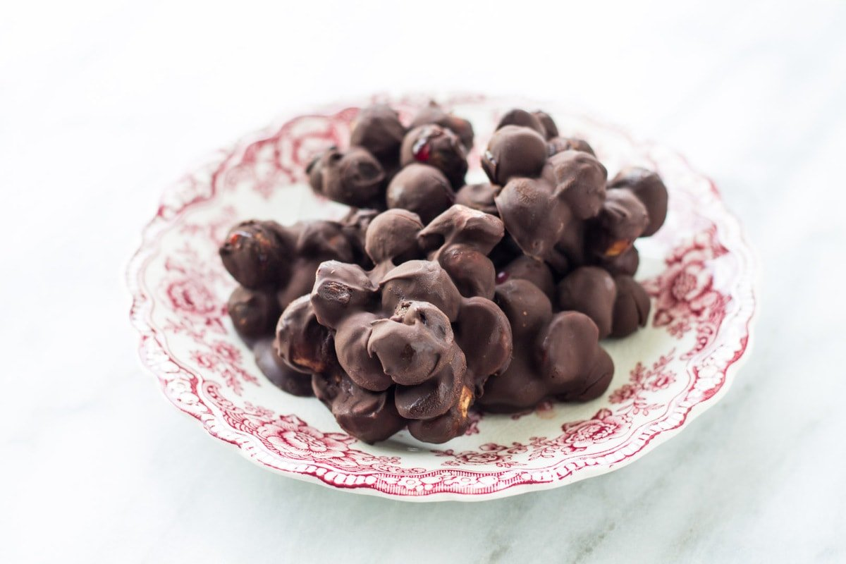 Plate of low FODMAP dark chocolate blueberry mac nut bites