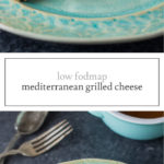 Two photos of low FODMAP Mediterranean grilled cheese
