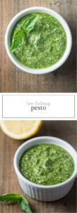 Two photos of low FODMAP pesto