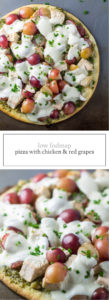Low FODMAP Pizza with Pesto, Chicken and Red Grapes