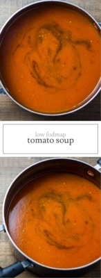 Two photos of low FODMAP tomato soup