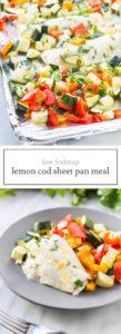 Two photos of low FODMAP lemon cod sheet pan meal