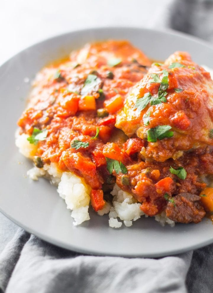 Low FODMAP Chicken Cacciatore over Mashed Potatoes