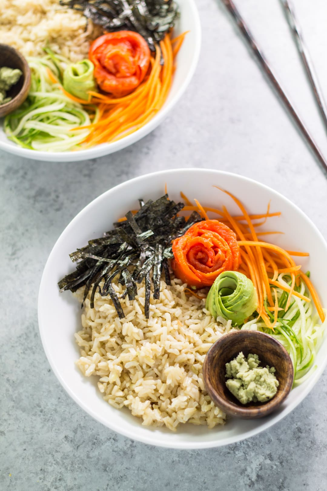 Low FODMAP sushi bowls with chopsticks