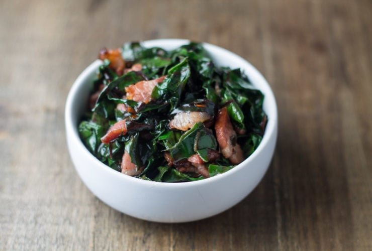 Bowl of low FODMAP Swiss chard and bacon