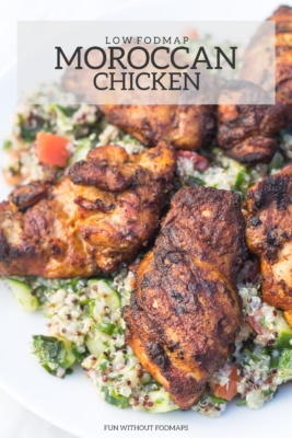 Close up of Low FODMAP Moroccan Chicken on a white plate served over low FODMAP quinoa tabbouleh