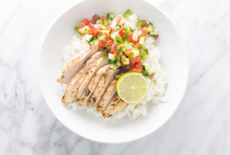 Overhead centered shot of low FODMAP cilantro lime chicken with rice and salsa