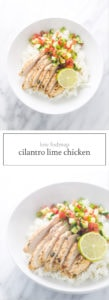 Two photos of low FODMAP cilantro lime chicken