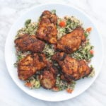 Overhead shot of plate filled with low FODMAP Moroccan chicken