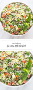 Two photos of low FODMAP quinoa tabbouleh