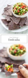Two photos of low FODMAP salsa