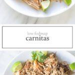 Two photos of low FODMAP carnitas