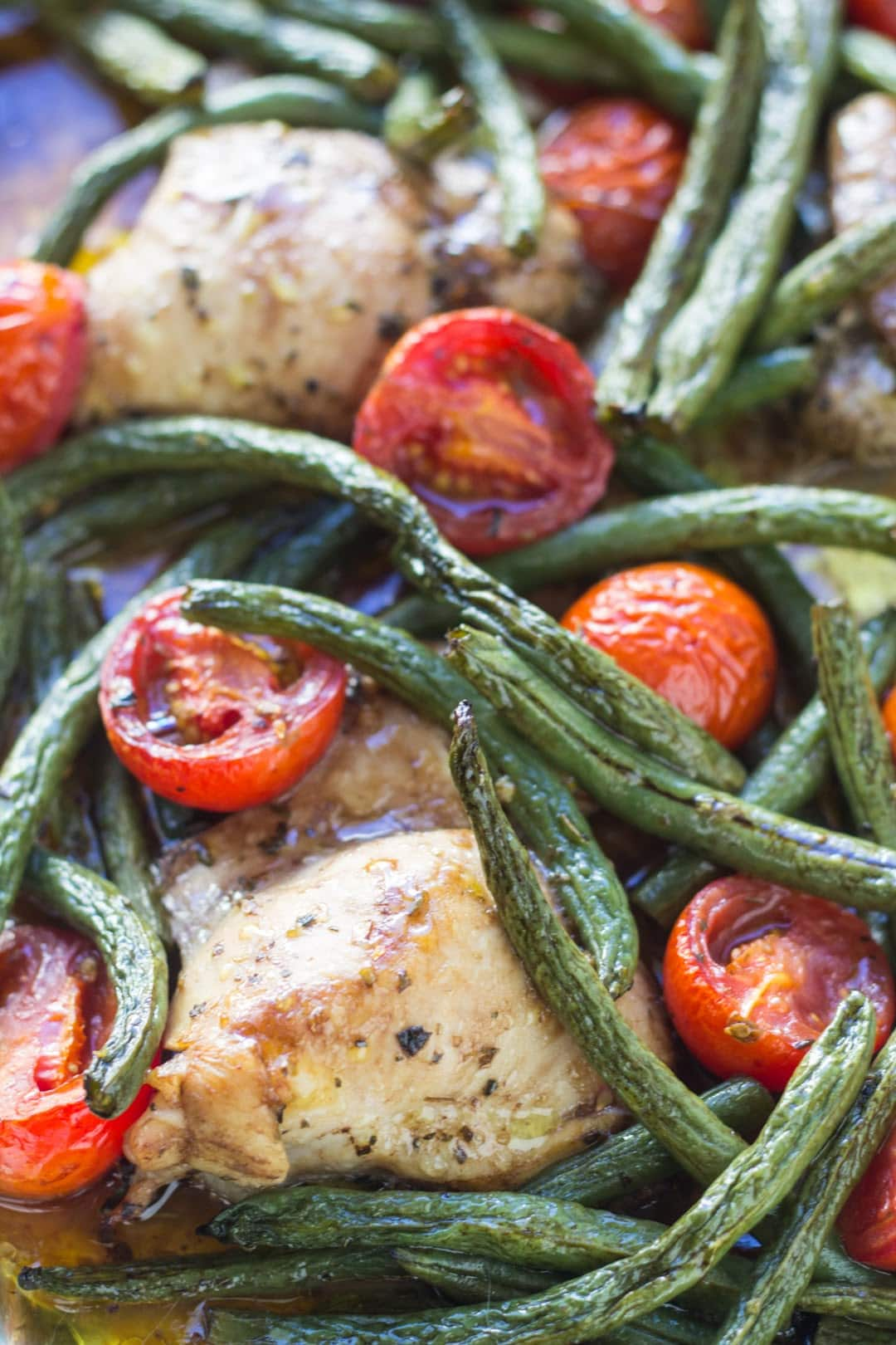 Close up of low FODMAP Italian chicken and veggies