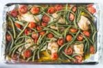Pan of low FODMAP Italian chicken and veggies