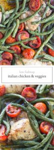 Two photos of low FODMAP Italian chicken and veggies