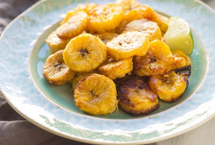Close up of low FODMAP roasted plantains